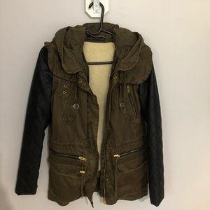 Zara Military Green Leather Jacket